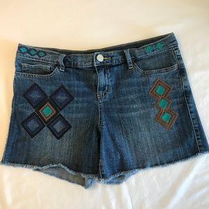 Allen B. Aztec Embroidered Raw Hem Denim Shorts
